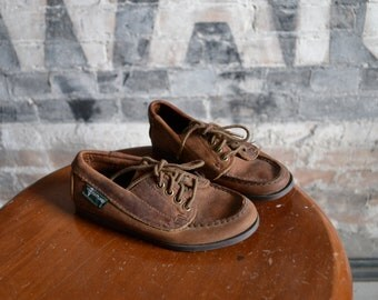 Vintage Eastland Brown Leather Boat Shoes, Loafers, Kids Size 12 / ITEM034