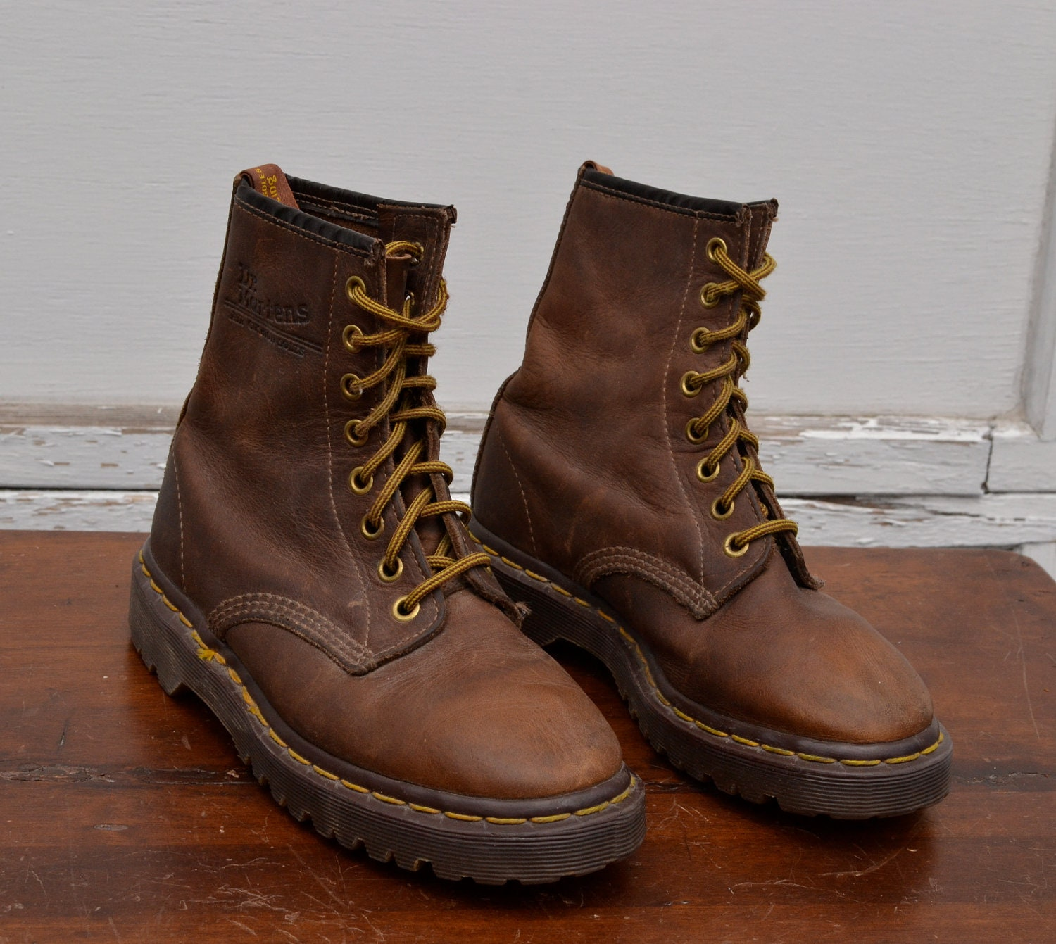 vintage brown leather dr martens ankle boots uk 3 us womens