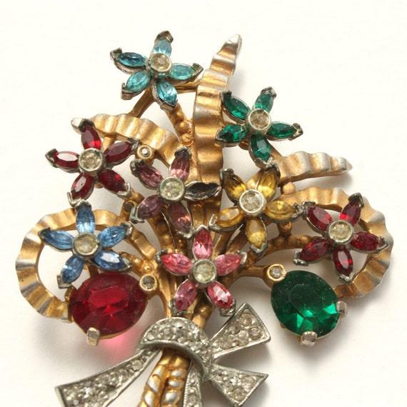 1920s Antique Brooch  Flower Rhinestone Vintage Brooch