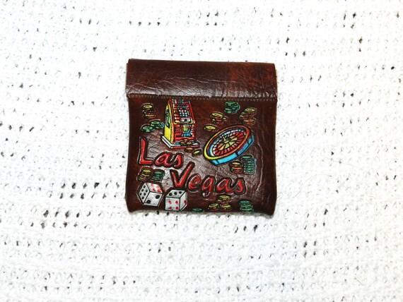 Vintage Leather Las Vegas Souvenir Coin Pouch