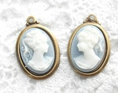 Blue and White Cameo Pendants - Two Piece Set - Antiqued Brass
