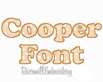 Cooper Applique Machine Embroidery Font Alphabet - 3 Sizes