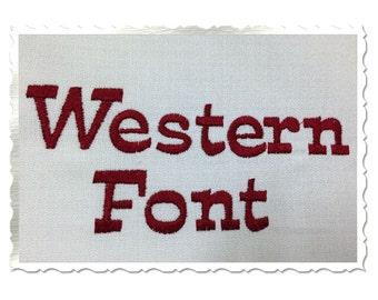 Western Machine Embroidery Font Monogram Alphabet - 3 Sizes