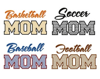 4 Pack Sports Mom Applique Machine Embroidery Designs - Basketball, Baseball, Football, Soccer