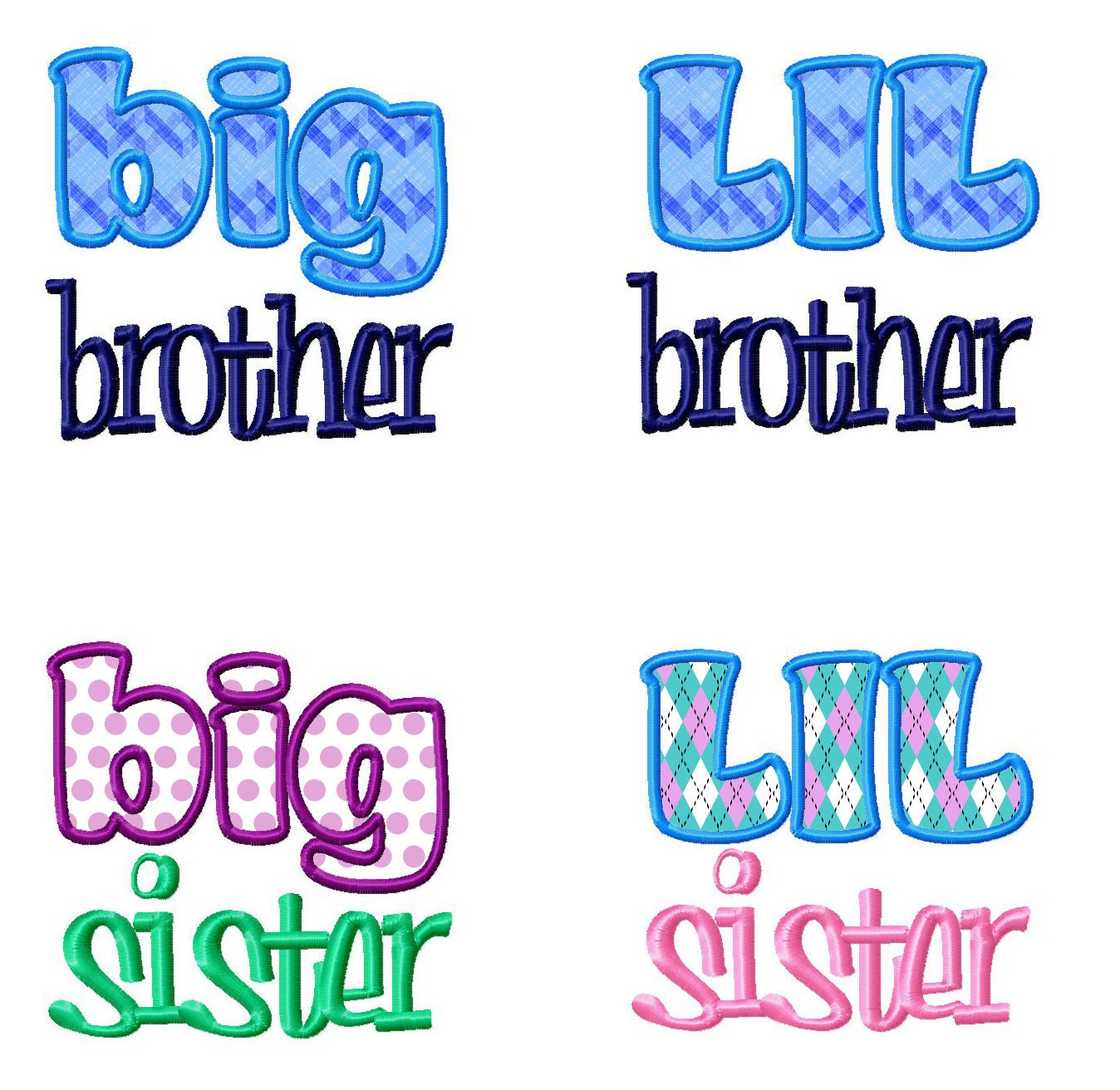 Little Brother Big Brother Quotes: 4 Pack Lil Big Brother & Sister Applique Machine Embroidery