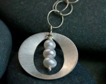 Round silver pendant with pearls necklace - silver and pearl necklace