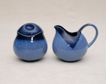 Cream & Sugar Set: Blue Two Tone Color (3 Piece Set) - Ceramic, Sugar Jar with Lid, Shiny Glaze, Perfect for your Coffee or Tea!