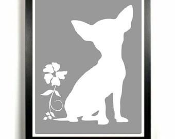 Chihuahua Art Print - Dog artwork, Chihuahua Silhouette