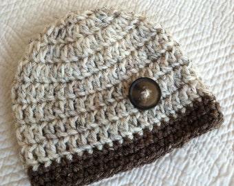Crochet Baby Beanie in Tan and Brown, Crochet Baby Hat, Newborn Hat, Winter Hat, Baby Boy Hat, Christmas Baby Hat, Little Boy Hat