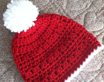 Christmas Crochet Baby Hat with Pompon, Red Crochet Baby Hat, Newborn Hat, Baby Hat, Red Baby Hat, Baby Girl Hat, Christmas Hat