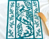 Flour Sack Dish Towel - Winter Animals: Red  or Winter Green