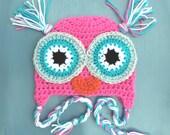 Crochet Baby Girl Owl Beanie Hat SIZES NEWBORN-ADULT