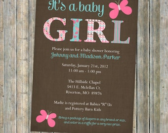 Butterfly shower invitation, butterflies, baby shower, digital, printable file