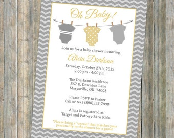 Onesie baby shower invitation, Onesie shower, banner shower invitation, yellow and gray, Digital, Printable file