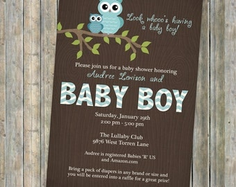 owl baby shower invitations with chevrons on wood grain for baby boy, Digital, Printable file