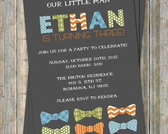 little man bow tie birthday party invitation, digital, printable file