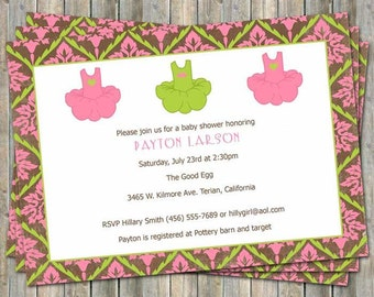 dance baby shower invitation, tutu, modern and bright, digital, printable file