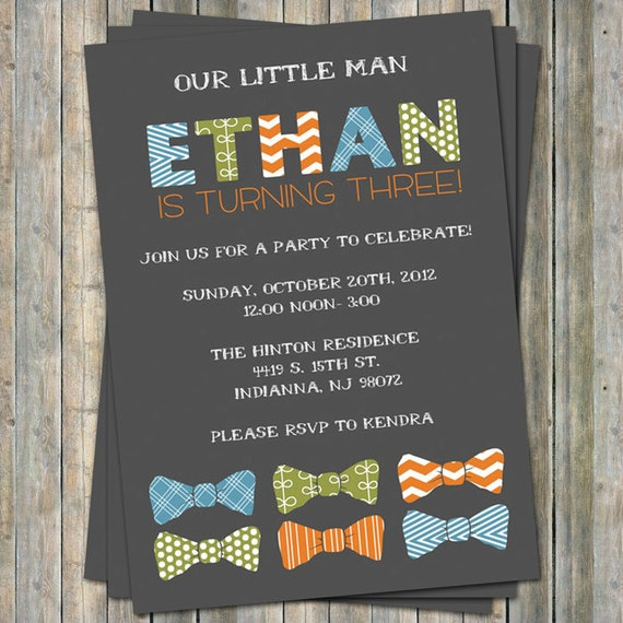 bow tie birthday invitation digital