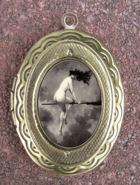 Nude Witch Riding Broom Gothic Surreal Cameo Locket Antique Brass