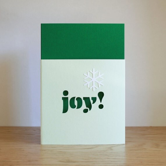 "Paper cut ""Joy"" Christmas card with snowflake"
