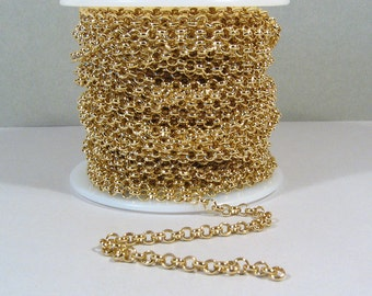 50 feet Gold Plated Rolo Chain