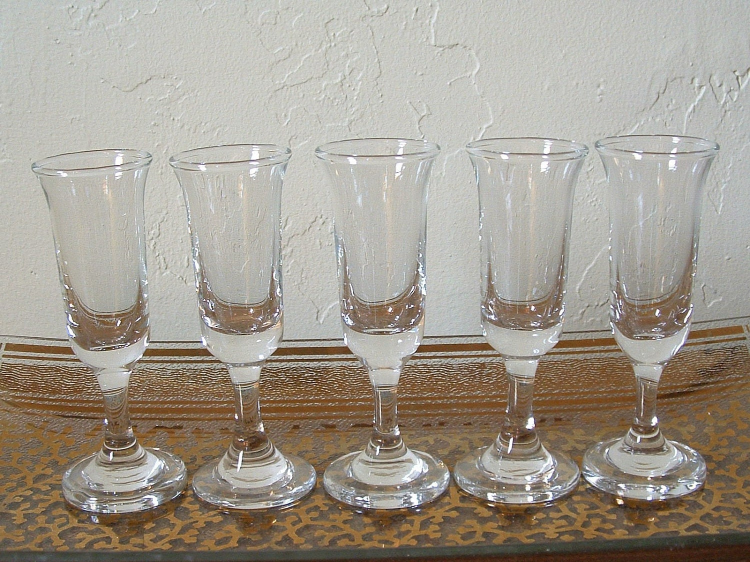 vintage cordial glasses shot glasses set of 5 small. Black Bedroom Furniture Sets. Home Design Ideas