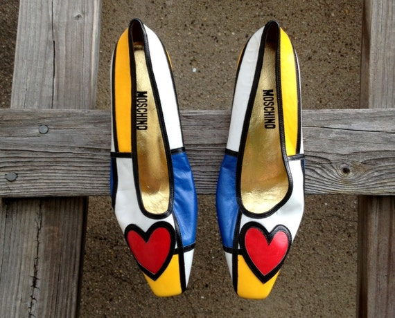 MOSCHINO Mondrian Color Block Mod Heart Op Art Flats Shoes Size 7