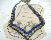 Something Blue Vintage Necklace Rhinestone ,Wedding ,Bridal Accessory, Bridesmaid Necklace