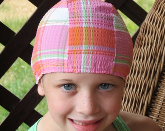 Lycra SWiM CaP - COUNTRY Girl PLAID - Sizes - Baby , Child , Adult , XL - Made from Spandex / Swimsuit Swimming Fabric - Froggie's Swim Caps