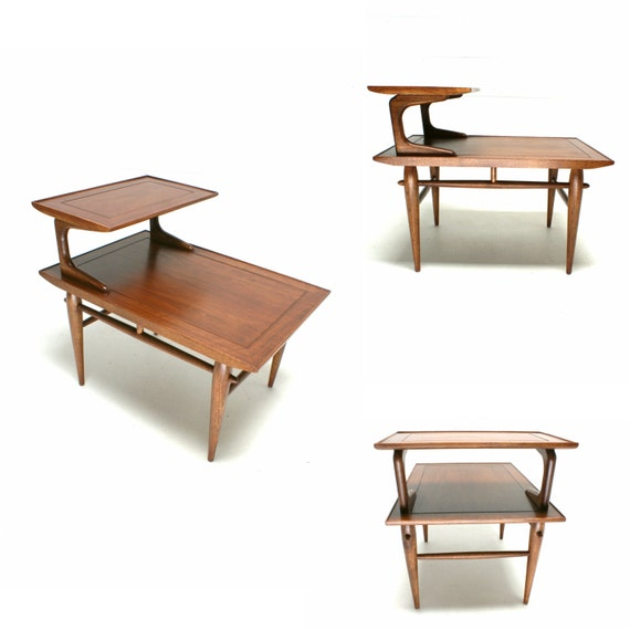 1950s Mid Century End Table By Lane Furniture: The 60s Mid Century LANE Step Table Side End Table FREE