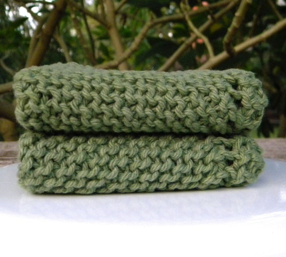 Knit dish cloths - wash cloths- absorbent, durable, scrubbers, exfoliating, set of two, 100% cotton- Sage Green. In stock ready to ship.