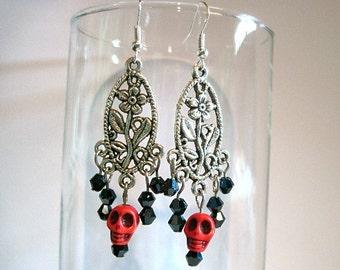 Skulls & Crystals Pierced Earrings Halloween Dia de los Muertos, Day of the Dead