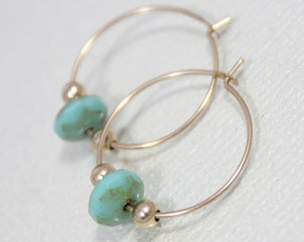 Hoop Earrings- Gold Turquoise Hoop Earrings- Gold Hoop Earrings- Turquoise Hoop Earrings- Beaded Hoop Earrings- Gold Beaded Hoop Earrings