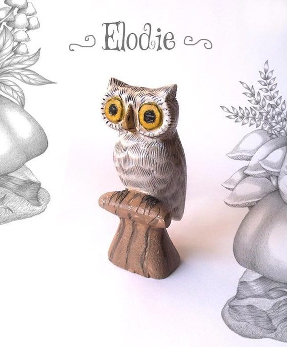 CLEARANCE SALE Elodie the White Owl - whimsical small animal wood carving figurine sculpture