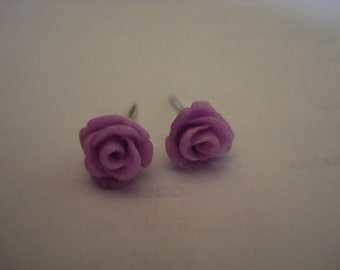 Lilac  Mini Rose Cabochon Stud Earrings Set  On Sterling Silver Post Stud 6mm in size