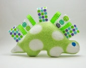 Dinosaur Crinkle Soft Ribbon Tag Toy Green White Polka Dots