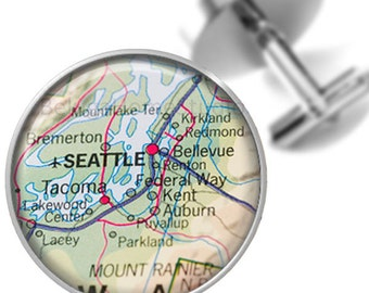 Maps Destination Cufflinks Seattle Washington Groomsmen Wedding Party Fathers Dads Men