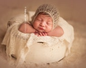Mohair and Silk : Newborn BONNET -  Beige - Newborn Photo Prop -  newborn knit hat, baby hat, maternity, photography