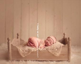 the Dream : Newborn Headband  - Oatmeal - Newborn Photo Prop -  halo, blanket, wrap, flower headband