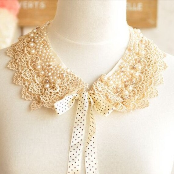 Sweet  Pearl Bead Crystal bead embroidery Lace collar