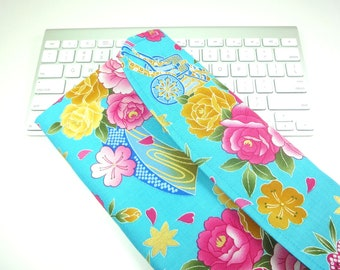 Apple Wireless Keyboard Sleeve Case Cover Padded Flap Closure Kimono pattern fabric float flowers aqua blue