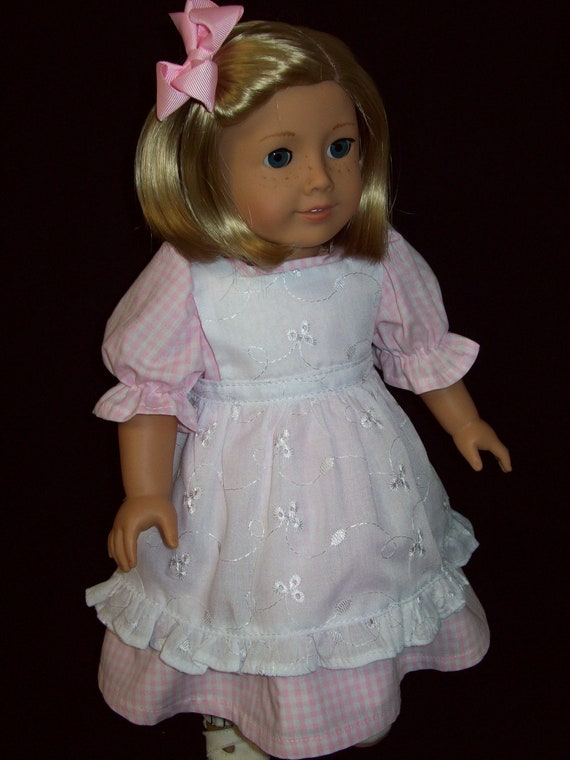 American Girl Doll Clothes 18 inch doll dress  Pink gingham check dress,pantaloons and eyelet pinafore.