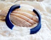 Navy Blue and Clear Rounded Square Bracelet