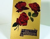 """Antique Greeting Postcard 1910 - """"Take a Smile"""" - Red Roses - Gold"""