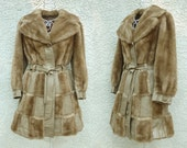 Vintage 60s London Mod Faux Fur and Leather Coat, Size M/L