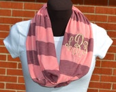 Monogrammed Infinity Scarf Game Day Pink and Rose Stripe Knit Jersey