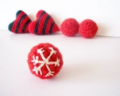 red ball with snowflake - crocheted ball - embroidered snowflakes - handmade supplies for craftmaker / Christmas themed supply