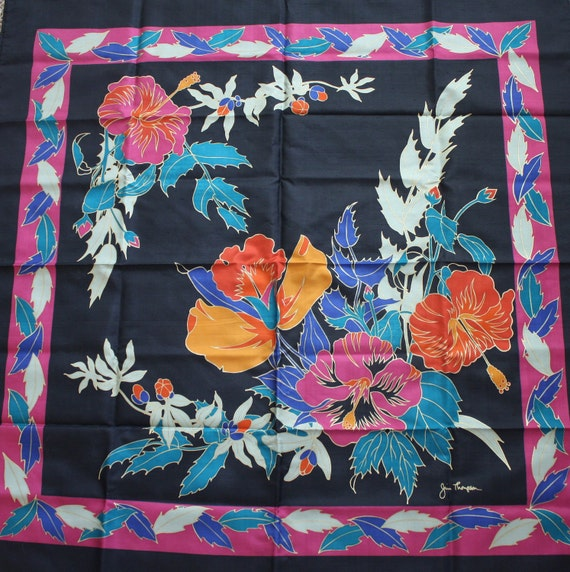 CLEARANCE Jim Thompson Scarf in Bold Teal, Pink, Orange on Black