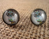 Cute Owl 12mm Round Stud Earrings on Antique Brass Nickle Free Posts