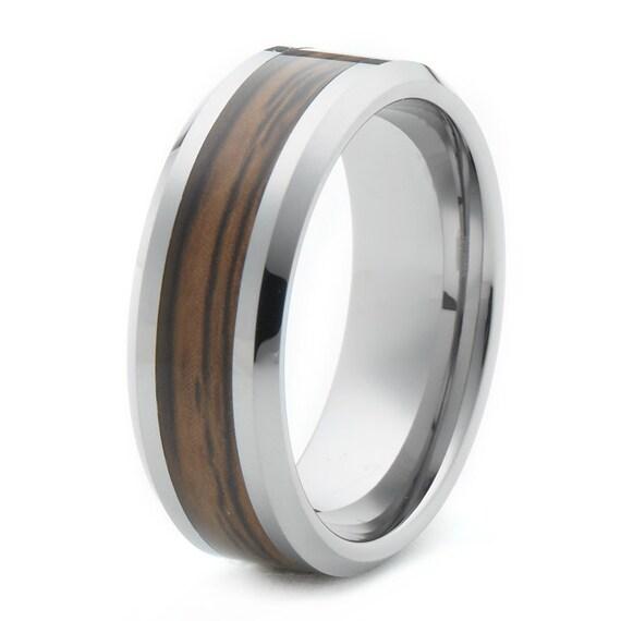 woodgrain tungsten wedding band